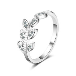 NEW Solid 925 Sterling Silver Crystal Leaf Band Ring Women Lady Elegant Jewelry