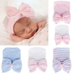 Newborn Infant Baby Girls Bearl Beading Bow-Knot Knitted Hemming Beanie Hat Cap