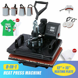 12quot;x15quot; 8 IN 1 Combo T Shirt Heat Press Transfer Machine Sublimation Swing Away $142.99