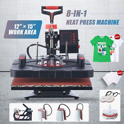 12quot;x15quot; 8 IN 1 Combo T Shirt Heat Press Transfer Machine Sublimation Swing Away $145.99