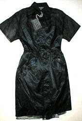 New Womens NWT Dress Black Designer Sacai 3 Midnight Dark Blue Coat Dress L 8