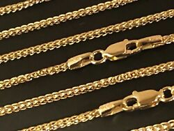 14 k Solid Yellow Gold 1.75mm Square Wheat  Chain Necklace 16