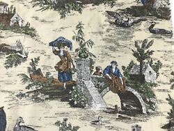 Victorian Toile Fabric Colonial Rustic Country Scene Multicolor 45quot; By the Yard $9.99