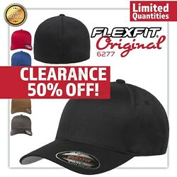Original Flexfit Fitted Baseball Hat Wooly Combed Twill Cap Blank Flex Fit 6277 $12.28
