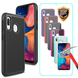 For Samsung Galaxy A50 Shockproof Hybrid Phone Case Cover+Glass Screen Protector