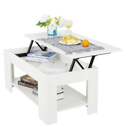 Coffee Table For Living Room Large Lift Up Hard Storage Shelf Furniture White $100.99
