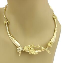 Estate 14k Gold Carved Lady & Peacock Fancy Section Link Collar Necklace