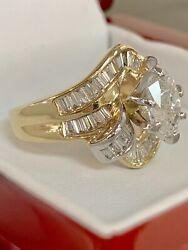 CERTIFIED SOLITAIRE .90CT OVAL .45CT BAGUETTES DIAMOND ENGAGEMENT RING 14K.Y.G.