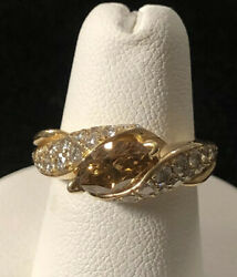 18k Yellow Gold 1.5cttw Fancy Champane Color Marquise Center Engagement Ring