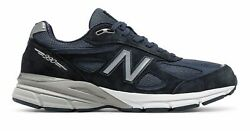 New Balance Men's 990V4 Made In Us Shoes Navy With Silver