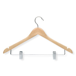 Honey-Can-Do HNGT01209 12-Pack Wooden Suit Hanger with Clips Maple