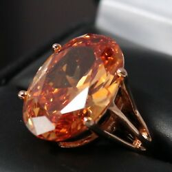 Sparkling Oval Orange Citrine Ring Women Engagement Jewelry 14K Rose Gold Plate