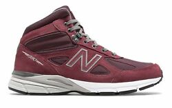 New Balance Men's 990V4 Mid Made In Us Shoes Red With Grey