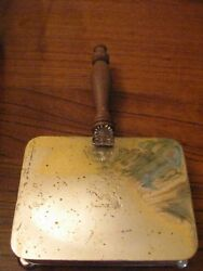 APOLLO SILVER PLATE SILENT BUTLER CRUMB ASH CATCHER WOOD HANDLE