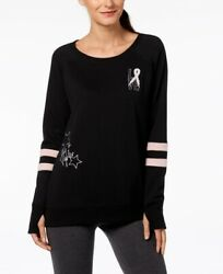 Ideology Womens Breast Cancer Ribbon She's a Fighter Sweatshirt Noir