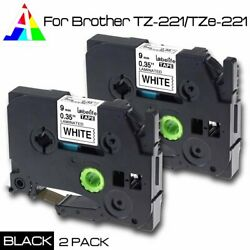 TZe-221 TZ221 Black White Label Tape 9mm Compatible Brother P-Touch 26.2ft 2PK