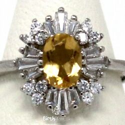 Large Oval Natural Citrine Halo Art Cocktail Women Jewelry White Gold Plated $47.25