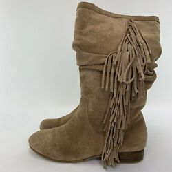 Kenneth Cole Reaction Suede Leather Fringe Slouch Mid Calf Boots Womens Sz 6.5M