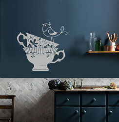Vinyl Wall Decal Ornament Little Bird Tea Cups Kitchen Decor Stickers 3926ig $49.99