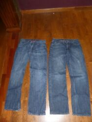 Lot of 2 pairs J Crew flannel insulated warm jeans 35x36 - Made in Canada