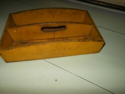 Vintage Primitive Wooden Cutlery Flatware Knife Caddy Tote