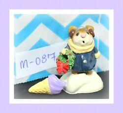❤️Wee Forest Folk M-087 Holly Mouse Navy Blue Coat 1982 Wreath Earmuffs Figure❤️