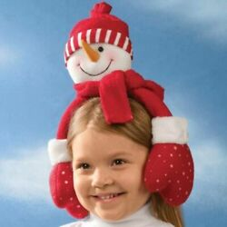 Kid Winter Snowman Plush Earmuffs Earwarmers Ear Muffs Warmers Boys Girls Red
