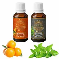 Exotic Aromas mandarin & peppermint essential oil Pure and Organic- Pack of 2
