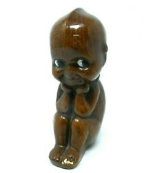 SOLID HAND CARVED WOODEN KEWPIE DOLL 4 INCH Made in Italy