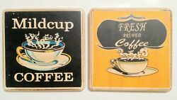 Lot of 2 Coffee Theme Signs - Vintage Wooden Plaque Sign Wall Decor - 5
