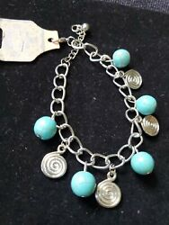 Brand New Blue And Silver Bracelet Adjustable Country Style Free Shipping... $7.50