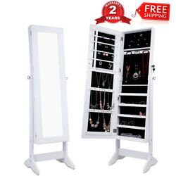 Lockable Mirrored Jewelry Cabinet Armoire Home Organizer Storage Stand Shelves
