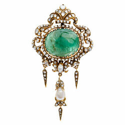 Antique BroachPendant with over 40 carats carved jade cabochon with rose...