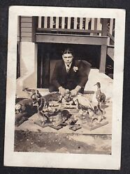 Antique Vintage Photograph Man Squating Down by Taxidermy Birds