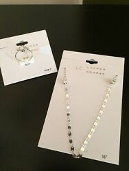 Lot of 2! LC  Lauren Conrad Silver Tone Sz 7 Ring AND Necklace NEW!!