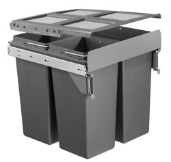 Dark Grey Pull Out Kitchen Bin for 500mm Cabinet 1x34L 2x17L Side Mounted GBP 88.49