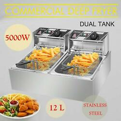 5000W 12LT Dual Tank Electric Deep Fryer Stainless Steel Commercial Basket