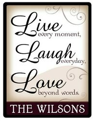 Live Love Laugh Family PERSONALIZED STICKER Decal Sign Home Foyer Kitchen GIFT $8.99