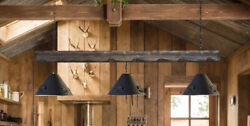 Rustic Country Chandelier Industrial Wood 3 Light Pool Table Light Fixture $350.00