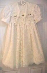Love Me Fancy Girls Party Wedding Communion Dress Size 5 Lace Petticoat Lined $15.91