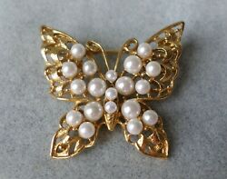 Vintage Pin Butterfly Shape Faux Pearls With Golden Yellow Color Metal