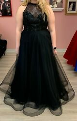 PROM Dress Blush Pink BLACK Evening Gown Size 16