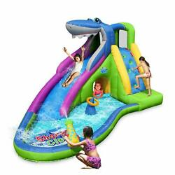 Inflatable Waterslide Shark Bounce House with Slide for Wet and Dry Playground
