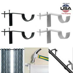2Pcs Single Hang Curtain Rod Holders Tap Right Window Frame Curtain Rod Bracket $9.99