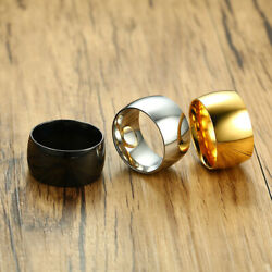 Simple Solid Color Titanium Steel Ring Men's Women Wide Span Finger Ring Jewelry