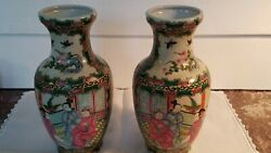 Pair Chinese Export Porcelain Vases Famille Rose-Verte Hand-Painted Marked