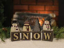New Primitive Rustic Country Christmas Black SNOWMAN BLOCKS Letter Word Sign $16.99