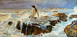 Ernest Laurent Naked Woman Sea Painting Painting Erotic Impressionism