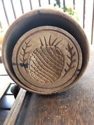 """Antique Natural Wood 4"""" Butter Mold Press Colonial Pineapple Stamp Primitive"""