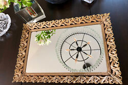 Vintage Dressing Table Mirror Tray with Gold Filigree Frame & Stands • Very Nice